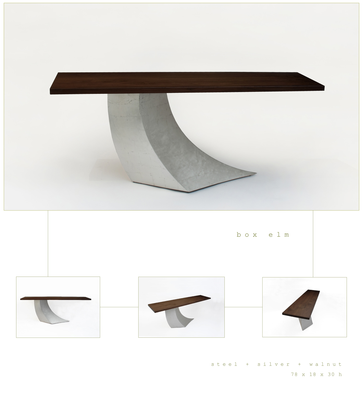 Box Elm is a contemporary console made out of steel, silver and walnut measuring 78 x 18 x 30 inches made by Chad Manley Design.