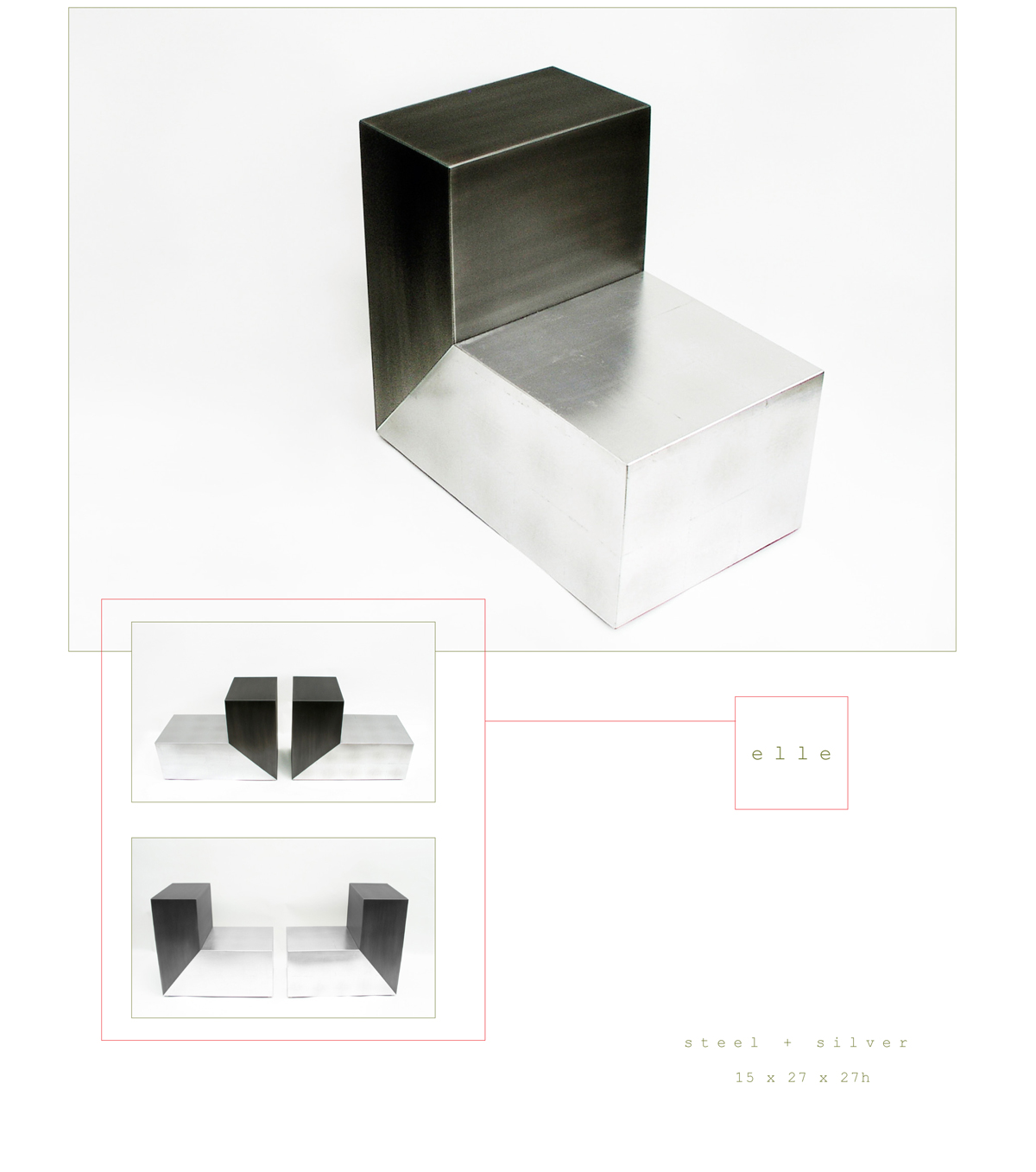 Elle is a contemporary end table made out of steel and silver measuring 15 x 27 x 27 inches made by Chad Manley Design.