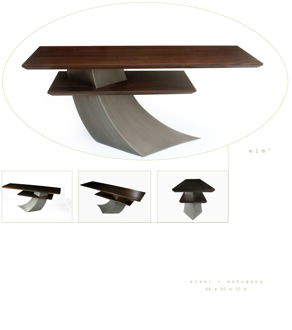 Elm 2 is a contemporary console made out of steel and mahogany measuring 66 x 20 x 30 inches made by Chad Manley Design.