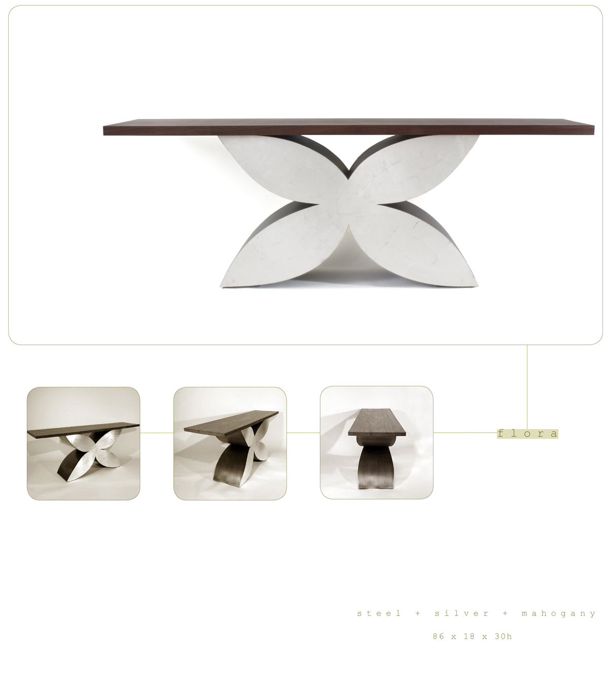 Flora is a contemporary console made out of steel, silver and mahogany 86 x 18 x 30 inches made by Chad Manley Design.