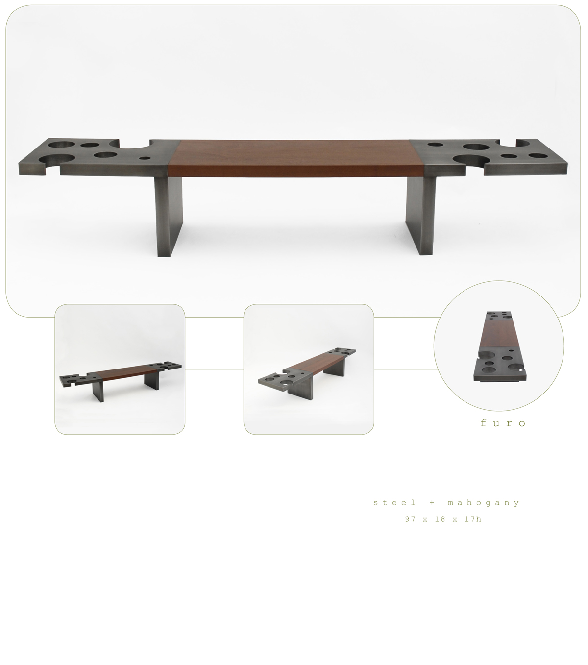 Furo is contemporary bench made out of steel and mahogany measuring 97 x 18 x 17 inches made by Chad Manley Design.