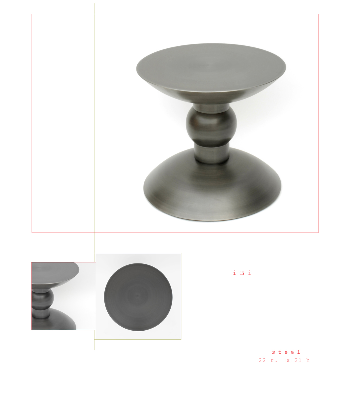 Ibi is a contemporary end table made out of steel measuring 22 x 21 inches hi made by Chad Manley Design.