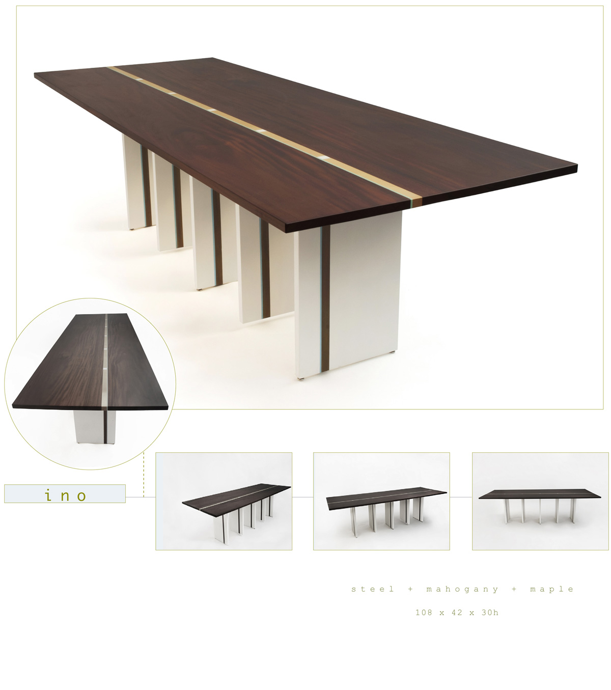 Ino is a contemporary dining table made out of steel and walnut measuring 108 x 42 x 30 inches made by Chad Manley Design.