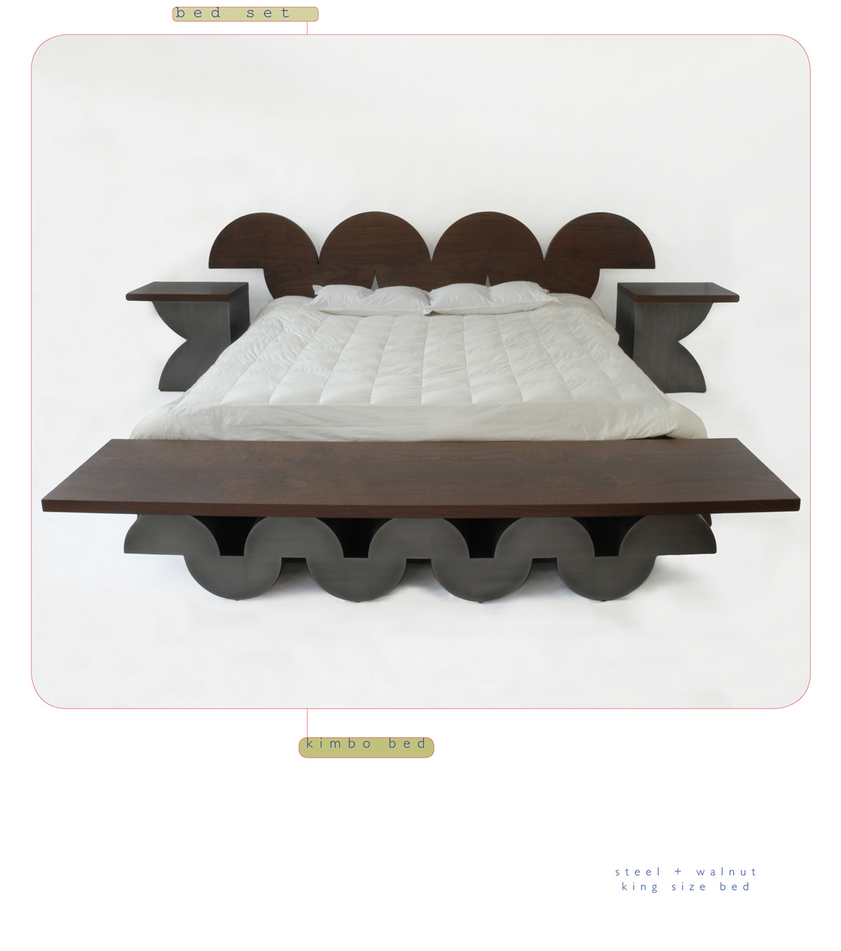 Kimbo is a contemporary king bed made out of steel and walnut made by Chad Manley Design.