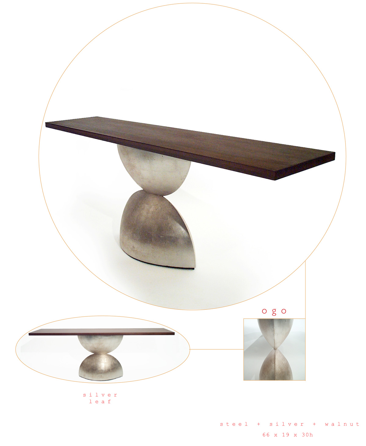 Ogo is a contemporary console made out of steel, silver and walnut measuring 66 x 19 x 30 inches made by Chad Manley Design.