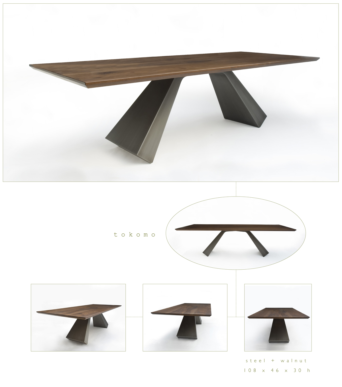 Tokomo is a contemporary dining table made out of steel and walnut measuring 108 x 46 x 30 inches made by Chad Manley Design.