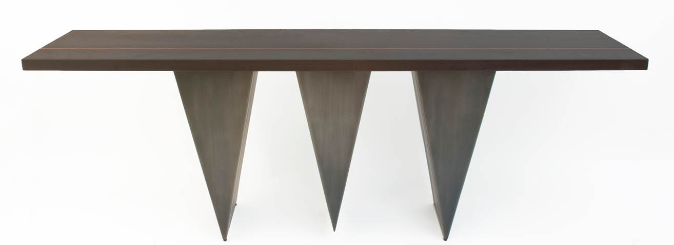 3 Peaks is a contemporary console made out of steel and ebonized oak 90 x 18 x 30 inches made by Chad Manley Design.