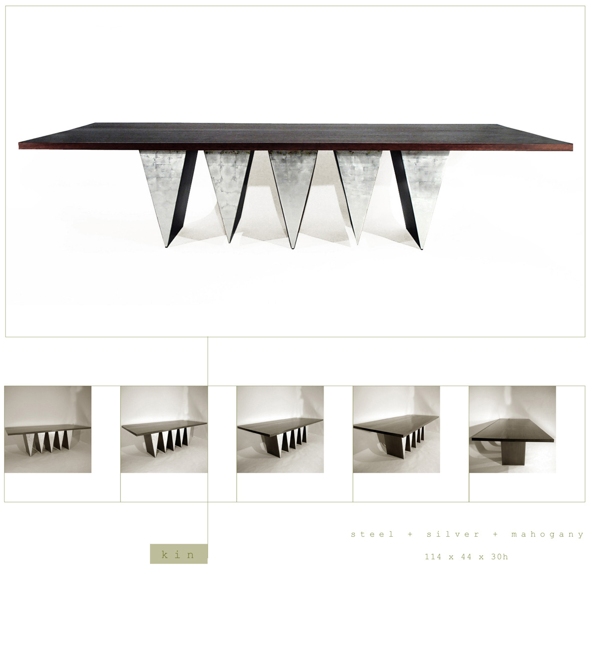Kin is a contemporary dining table made out of steel, silver and mahogany measuring 114 x 44 x 30 inches made by Chad Manley Design.