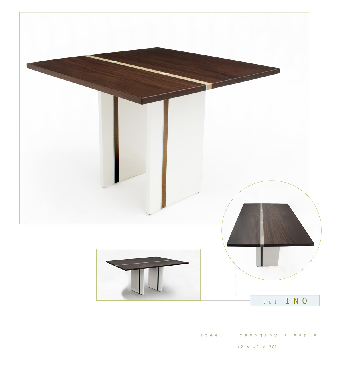 Lil Ino is a contemporary dining table made out of steel, mahogany and maple measuring 42 x 42 x 30 inches made by Chad Manley Design.