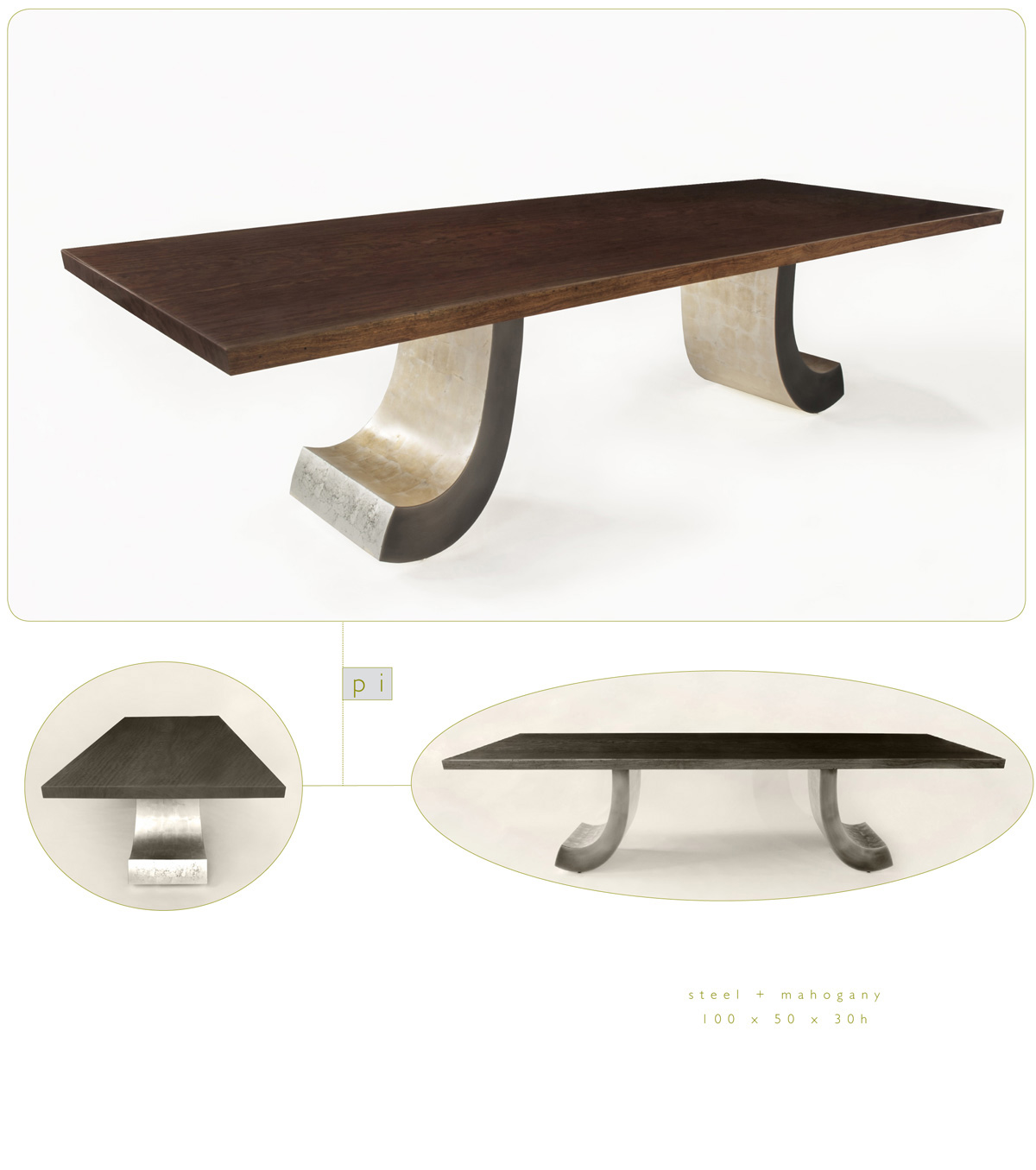 Pi is a contemporary dining table made out of steel and mahogany measuring 100 x 50 x 30 inches made by Chad Manley Design.
